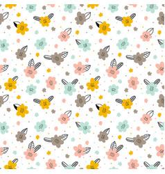 scandinavian hand drawn floral seamless pattern vector image
