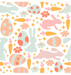 seamless pattern with cute retro icons for vector image