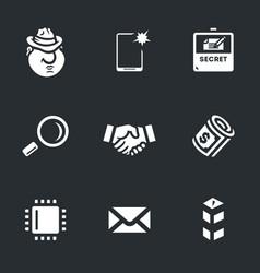 set espionage icons vector image