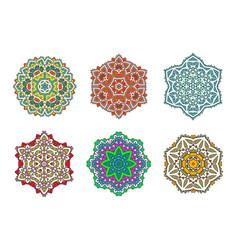 set ethnic fractal mandala meditation looks vector image