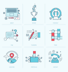set flat line icons for business vector image