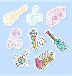 set music stickers pins patches and vector image