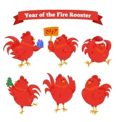 Set of cartoon chinese zodiac fire rooster vector