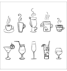 Set sketchy drinks vector