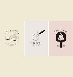 Set trendy hand drawn italian pizza logos vector