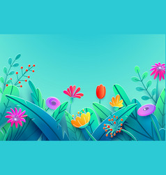 Summer border with paper cut fantasy flowers vector