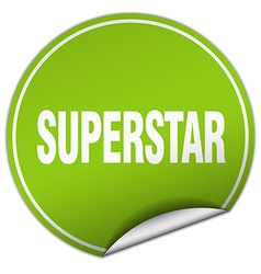 Superstar round green sticker isolated on white vector