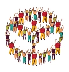 Symbol peace crowd happy vector image