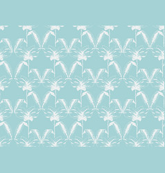 Tender teal pattern with white sketchy flowers vector