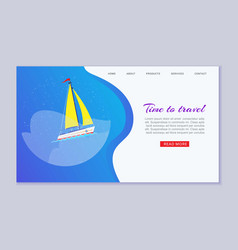 travel time on boat in blue ocean web banner vector image