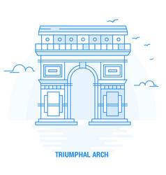 triumphal arch blue landmark creative background vector image