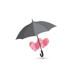 Two herats over umbrella protection love vector