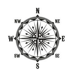 Vintage navigation compass symbol vector