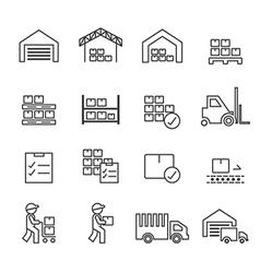 Warehouse icon line vector