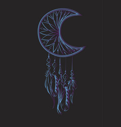 With blue dream catcher on a black vector