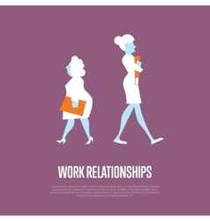 Work relationships banner with businesswomen vector