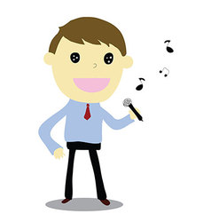 business man singing happy vector image vector image