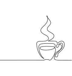 continuous line drawing of cup of coffee vector image vector image