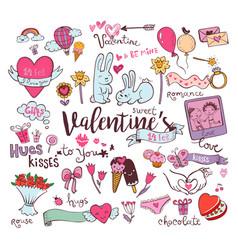 Cute valentine doodles vector