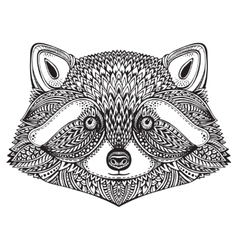 Hand drawn raccoon face in doodle ornate style vector image vector image