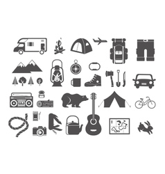 Hiking camping - set of icons and elements vector image