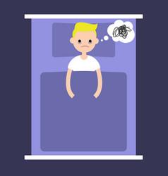 insomnia conceptual young blonde boy lying in vector image vector image