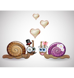 Isolated funny female and male snails vector image vector image