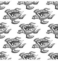 Seamless pattern of swimming turtles vector image vector image