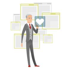 Senior businessman pressing web button with heart vector