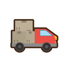 truck delivery transport cardboard box vector image