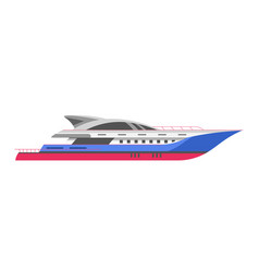 yacht or speedboar sailboat and motorboat sea vector image
