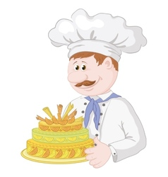 Cartoon cook with holiday cake vector image vector image