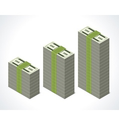 Dollars money graph in perspective vector image vector image