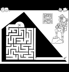 Maze activity game with traveler and pyramid vector