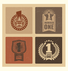 set of grunge vintage number one banner with vector image vector image