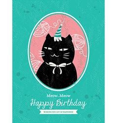 Cat Animal Cartoon Birthday card design vector image