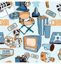 doodles cinema color seamless SimilarS vector image vector image