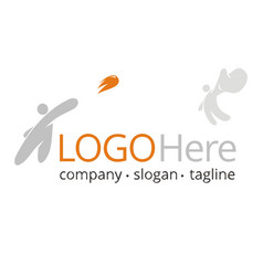 logo with people throwing and catching a ball vector image vector image