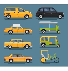 various city urban traffic vehicles icons vector image