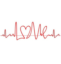 Word Love shape electrocardiogram on white backgro vector image