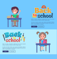 back to school poster with inscription stationary vector image vector image