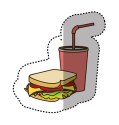 color sandwich with soda flat icon vector image