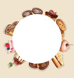 frame made of different dessert vector image