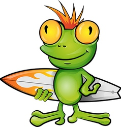 frog cartoon surfer vector image vector image