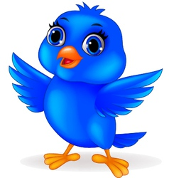 Funny blue bird cartoon vector