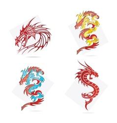 glass creative elegance dragons symbols set vector image vector image