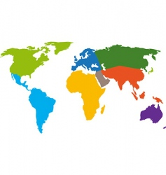world map continents vector image vector image