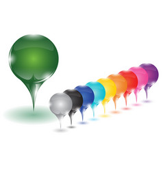 10 different colored pins vector image