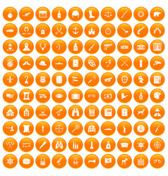 100 guns icons set orange vector
