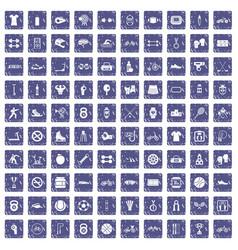 100 sport icons set grunge sapphire vector